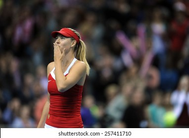 KRAKOW, POLAND - FEBRUARY, 7, 2015: Maria Sharapova during tennis cup Fed Cup Poland Russia