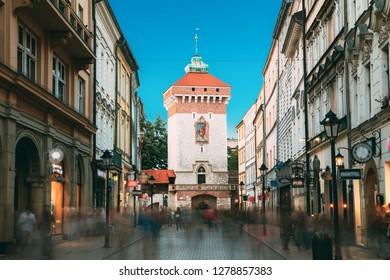 Krakow, Poland. Florianska Gate Krakow, the Medieval Florianska - St Florin's. UNESCO World Heritage Site.