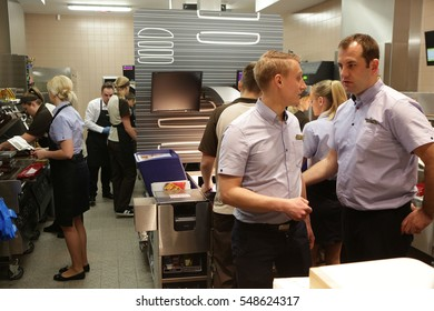 KRAKOW, POLAND - JANUARY 03, 2017, Opening Ceremony McDonald's at Grodzka Street, Old Town, Cracow.