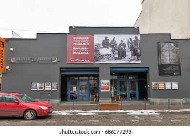 KRAKOW, POLAND - JANUARY 13, 2017: Galicia museum facade in the center of Kazimierz Jewish district. This contemporary museum houses exhibits honoring Holocaust victims and celebrating Jewish culture.