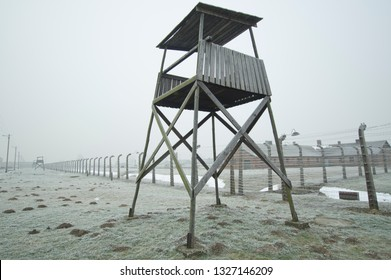 KRAKOW, POLAND -JANUARY 21 2019: Birkenau watch tower Concentration and Extermination Camp in winter time