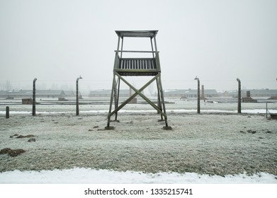 KRAKOW, POLAND -JANUARY 21 2019: Birkenau Concentration and Extermination Camp in winter time