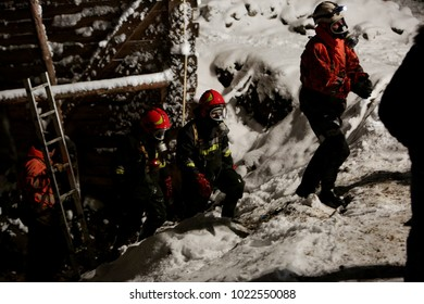 KRAKOW, POLAND - JANUARY 21,2018 : Night search action of lifeguards of the fire station
