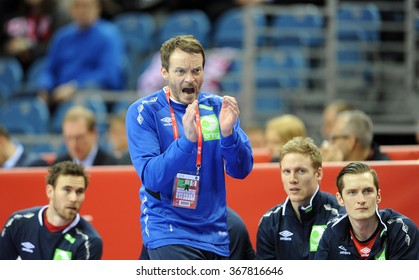 KRAKOW, POLAND - JANUARY 25, 2016: Men's EHF European Handball Federation EURO 2016 Krakow Tauron Arena Macedonia Norway o/p: Robert Hedin