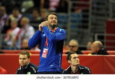 KRAKOW, POLAND - JANUARY 25, 2016: Men's EHF European Handball Federation EURO 2016 Krakow Tauron Arena Macedonia Norway o/p: Robert Hedin