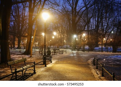 KRAKOW, POLAND - JANUARY 31, 2017: Planty city park in Krakow, Poland.
