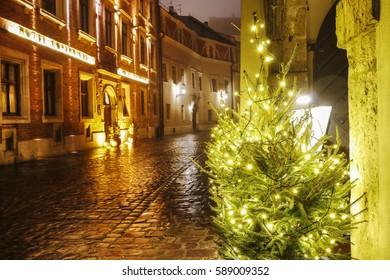 KRAKOW, POLAND - JANUARY 31, 2017:  The Kanonicza street in Krakow, Poland.