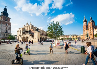 Krakow, Poland - July 01, 2015: Market Square in centre of Krakow
