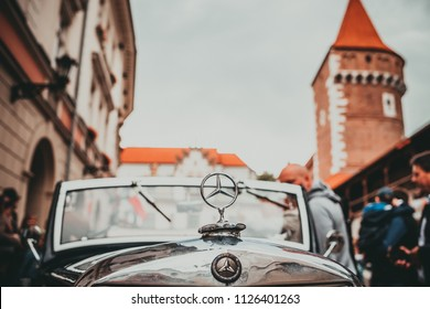 KRAKOW, POLAND - JULY 1, 2018: Retro car on celebration the  New Orleans Jazz Sunday. Lot of musicians, swing dancers, vintage cars  are there.