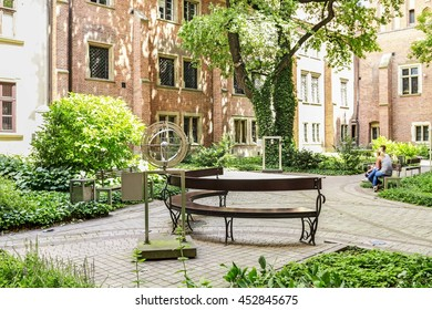 KRAKOW, POLAND - JULY 15, 2016: The Jagiellonian University. The oldest university in Poland, the second oldest university in Central Europe. Professor's garden.