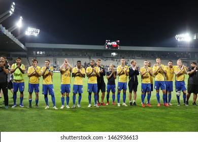 KRAKOW, POLAND - JULY 18, 2019: UEFA Europa League, qualifications: Cracovia Krakow - FC DAC 1904 Dunajska Streda o/p DAC