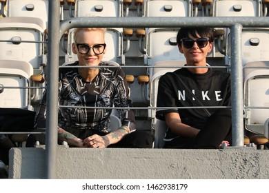 KRAKOW, POLAND - JULY 18, 2019: UEFA Europa League, qualifications: Cracovia Krakow - FC DAC 1904 Dunajska Streda o/p Agnieszka Chylinska