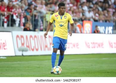 KRAKOW, POLAND - JULY 18, 2019: UEFA Europa League, qualifications: Cracovia Krakow - FC DAC 1904 Dunajska Streda o/p Cesar Blackman Camarena