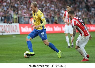 KRAKOW, POLAND - JULY 18, 2019: UEFA Europa League, qualifications: Cracovia Krakow - FC DAC 1904 Dunajska Streda o/p Lukas Cmelik