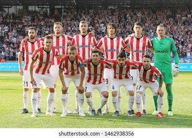 KRAKOW, POLAND - JULY 18, 2019: UEFA Europa League, qualifications: Cracovia Krakow - FC DAC 1904 Dunajska Streda o/p Cracovia team