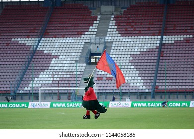 KRAKOW, POLAND - JULY 21, 2018: Polish Premier Football League Wisla Krakow - Arka Gdynia o/p Wawel Dragon