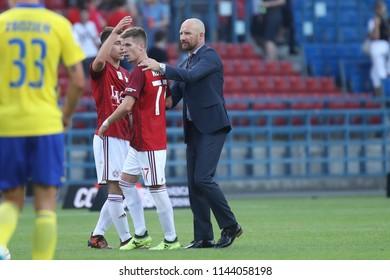 KRAKOW, POLAND - JULY 21, 2018: Polish Premier Football League Wisla Krakow - Arka Gdynia o/p Maciej Stolarczyk, Martin Kostal