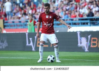 KRAKOW, POLAND - JULY 21, 2018: Polish Premier Football League Wisla Krakow - Arka Gdynia o/p Rafal Pietrzak