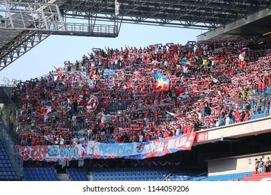 KRAKOW, POLAND - JULY 21, 2018: Polish Premier Football League Wisla Krakow - Arka Gdynia o/p football fans