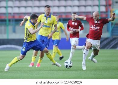 KRAKOW, POLAND - JULY 21, 2018: Polish Premier Football League Wisla Krakow - Arka Gdynia o/p Luka Zarandia, Vullnet Basha
