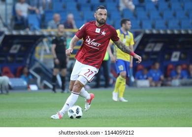 KRAKOW, POLAND - JULY 21, 2018: Polish Premier Football League Wisla Krakow - Arka Gdynia o/p Marcin Wasilewski
