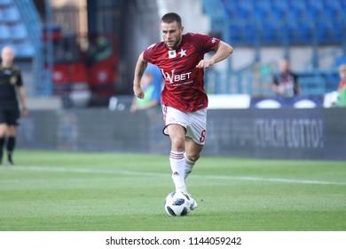 KRAKOW, POLAND - JULY 21, 2018: Polish Premier Football League Wisla Krakow - Arka Gdynia o/p Patryk Malecki