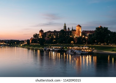 Krakow, Poland - July 23, 2018: The Wawel Royal Castle and Cathedral Basilica in Krakow, Poland.  Wawel Royal Castle is a the UNESCO World Heritage