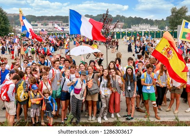 KRAKOW, POLAND - JULY 26, 2016: Pilgrims at John Paul II Centre named The Have No Fear during World Youth Day, an international Catholic event focused on faith and youth in Krakow, Poland.