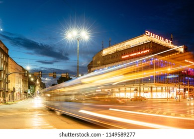 Krakow, Poland - July 26, 2018: Night view of the Jubilat shopping Center in Krakow, Poland,