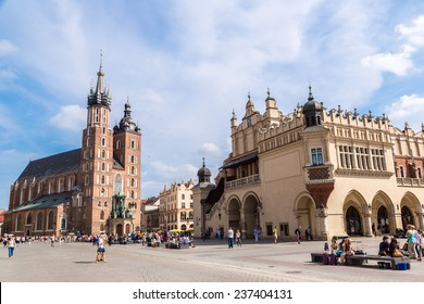 KRAKOW, POLAND - JULY 26: St. Mary's Church in a historical part of Krakow, Poland on July 26, 2014. Krakow is one of the oldest cities in Poland.