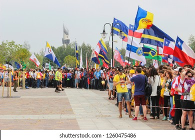 KRAKOW, POLAND - JULY 28, 2016: Pilgrims at John Paul II Centre named The Have No Fear during World Youth Day, an international Catholic event focused on faith and youth in Krakow, Poland.