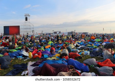 KRAKOW, POLAND - JULY 31, 2016: Pilgrims the day after the vigil
