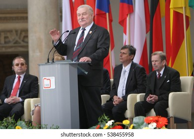 KRAKOW, POLAND - JUNE 04, 2009: 20th Anniversary of the collapse of Communism in Central Europe o/p Lech Walesa