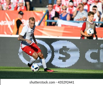 KRAKOW, POLAND - JUNE 06, 2015: EURO 2016 European International Friendly Game Poland - Lituania 