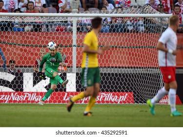 KRAKOW, POLAND - JUNE 06, 2015: EURO 2016 European International Friendly Game Poland - Lituania o/p  Lukasz Fabianski