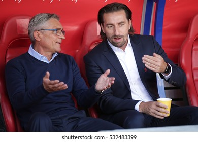 KRAKOW, POLAND - June 06, 2016: Inernational Friendly football game Poland - Lithuania o/p Adam Nawalka (coach) and Tomasz Iwan