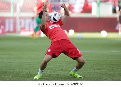 KRAKOW, POLAND - June 06, 2016: Inernational Friendly football game Poland - Lithuania o/p Robert Lewandowski