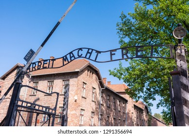 KRAKOW, POLAND - JUNE, 2017: A Entrance to the concentration camp of auschwitz with infamous sign 'Arbeit macht Frei'