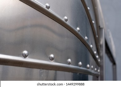Krakow, Poland. June 2019. Close up showing the detail on a classic Airstream catering trailer, photographed at the Tytano tobacco factory complex in Krakow old town.