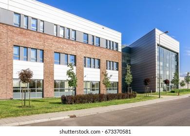 KRAKOW, POLAND - JUNE 27, 2017: The Jagiellonian University. The oldest university in Poland, the second oldest university in Central Europe. Modern campus buildings in Krakow, Poland.