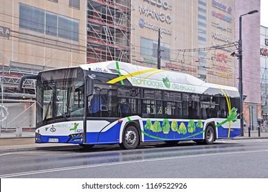 KRAKOW, POLAND - JUNE 27, 2018 - Solaris Urbino 12 electric bus, belonging to MPK Krakow, at the charging station