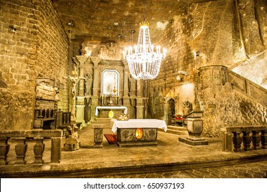 KRAKOW, POLAND - June 3, 2014 Chapel in the main hall in the Wieliczka Salt Mine