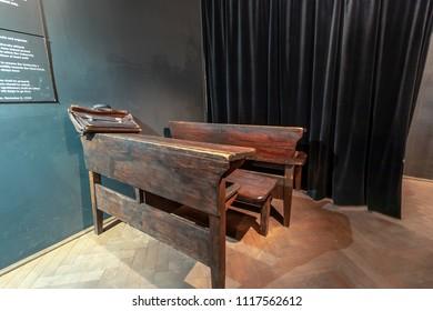 Krakow, Poland - June 3, 2018: Exhibition on the theme of life Krakow Jews during the Second World War in Oskar Schindler's Enamel factory museum