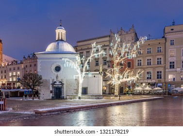 Krakow, Poland, Main Market Square and Christmas decoration, winter night
