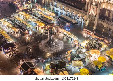 Krakow Poland main square with cloth hall and Christmas fairs aerial view