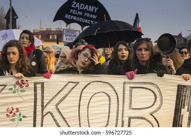 KRAKOW, POLAND, MAR 8, 2017. Participants during a celebration of International Women's Day at the center of city.