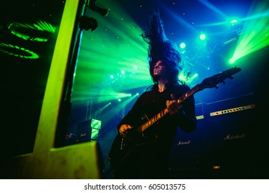 KRAKOW, POLAND - MARCH 16, 2017: V. Santura, guitarist of Swiss extreme metal band Triptykon, performs for Polish fans.