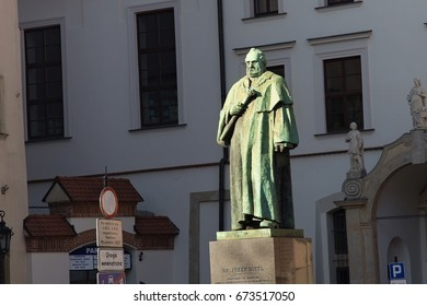 KRAKOW, POLAND - MARCH 28, 2017:  Monument of the Joseph Dietl. Located in the square of All Saints. The statue depicts Joseph Dietl - the President of Krakow and Rector of the Jagiellonian University