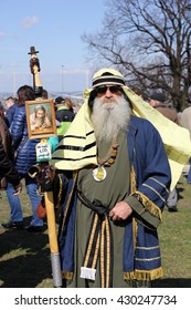 KRAKOW, POLAND - MARCH 29, 2016: Unidentified participants of Rekawka - Polish tradition celebrated in Krakow on Tuesday after Easter. Currently has the character of festival historical reconstruction