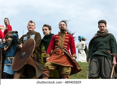 KRAKOW, POLAND - MARCH 29, 2016: Unidentified participants of Rekawka, Polish tradition, celebrated in Krakow on Tuesday after Easter. Currently has the character of festival historical reconstruction
